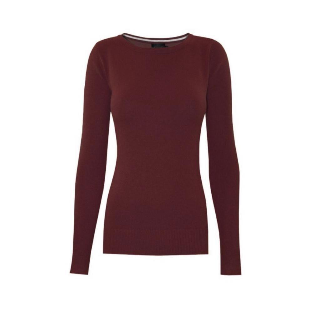 Classic claret crewneck sweater in a soft, medium-weight fabric with a pinch of stretch.