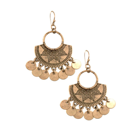 Lovely burnished gold coin dangle earrings.
