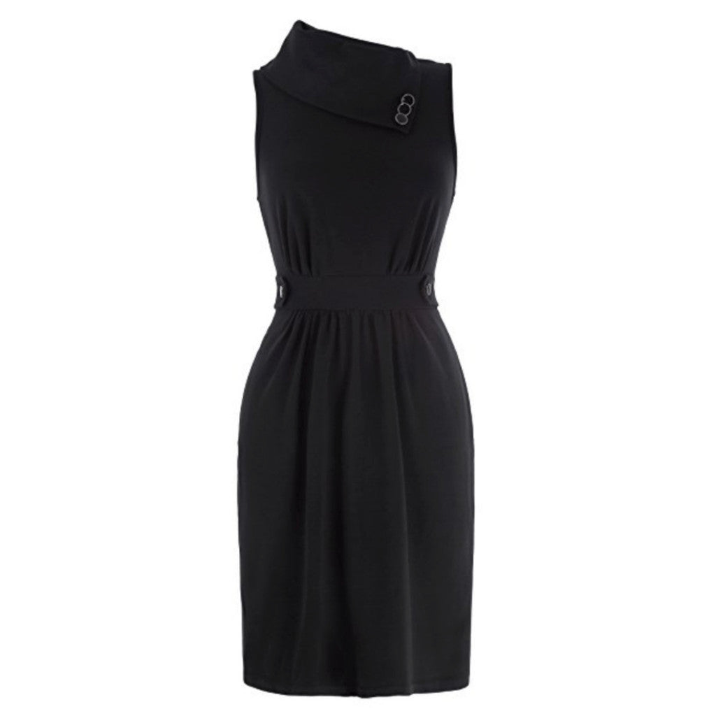 Chic, 1960's-style black sleeveless cowl neck shift dress