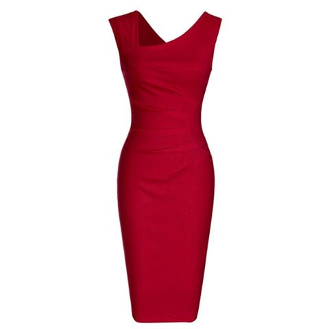 Sleeveless red sheath dress with asymmetric neckline and flattering ruching.