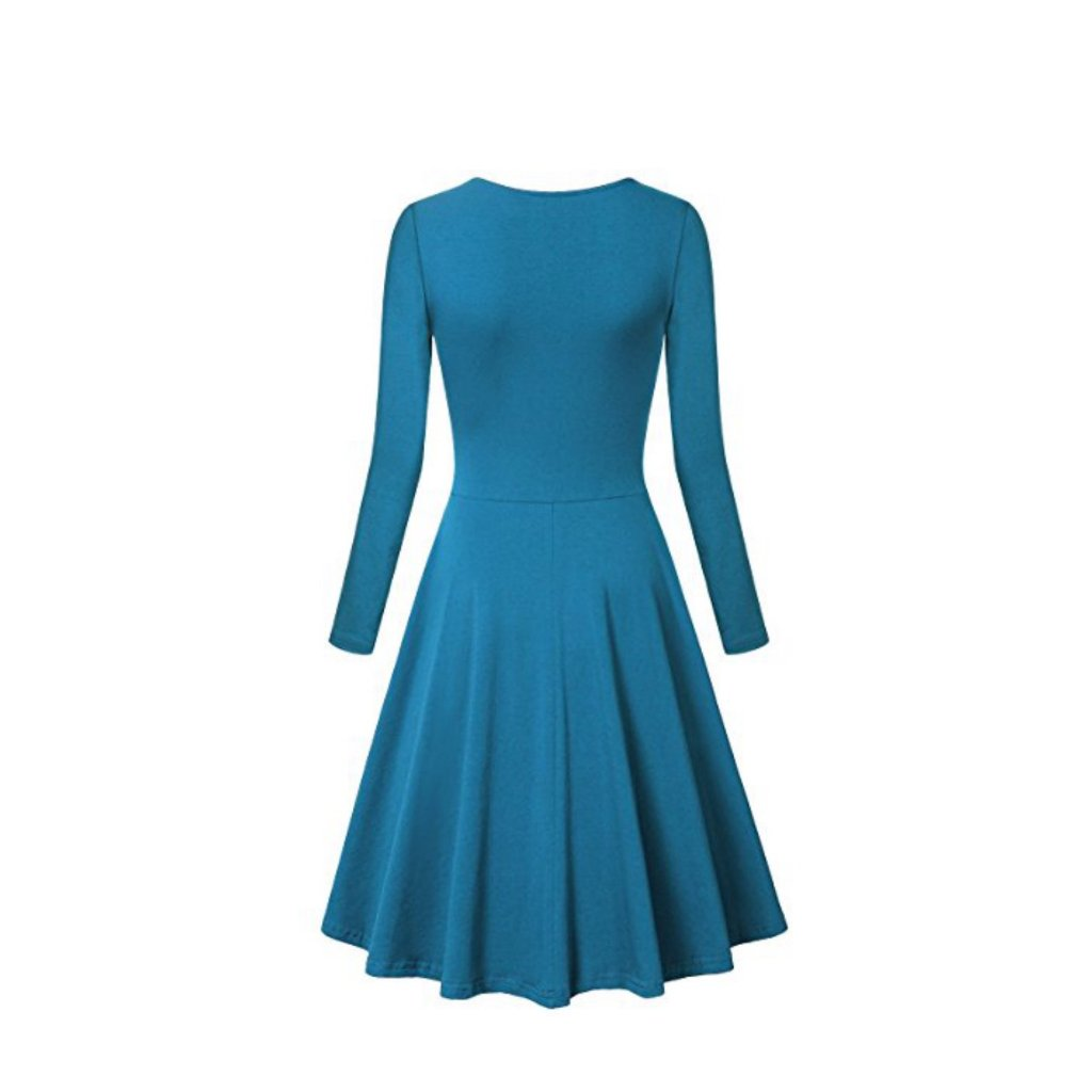 Charming blue long sleeve surplice dress with a flattering a-line silhouette.