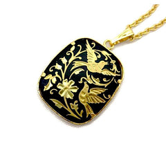 Lovely, vintage 1960's Damascene pendant necklace, featuring a bird and flower motif.