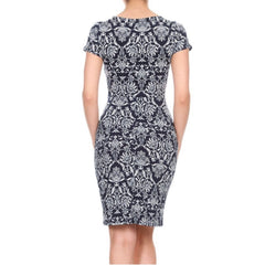 Dark navy and white damask-print sheath dress with 40's-style bodice ruching.