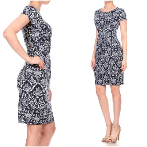 Dark navy and white damask-print sheath dress with 40