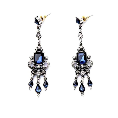 Art-deco style sapphire blue dangle earrings.