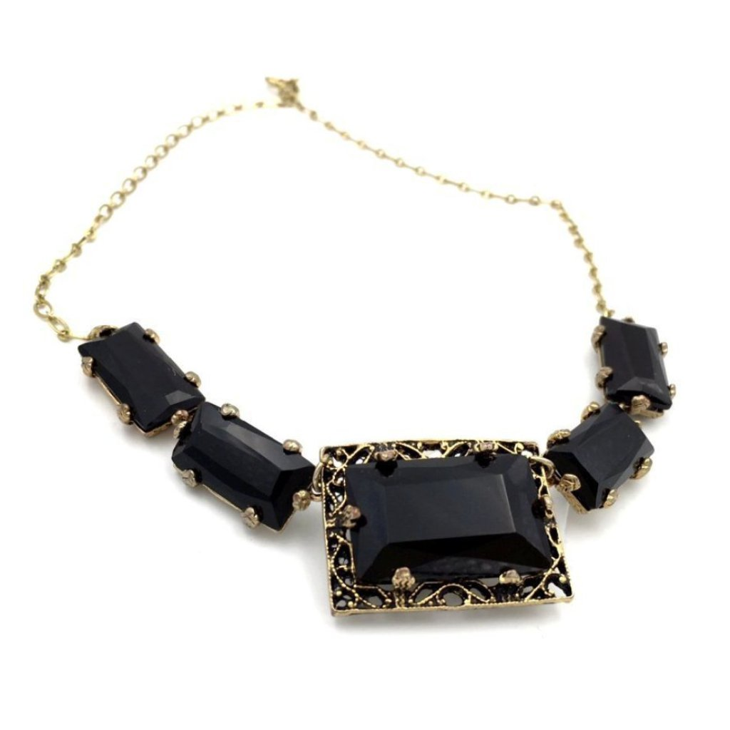 Elegant vintage 1950's art-deco black glass necklace.