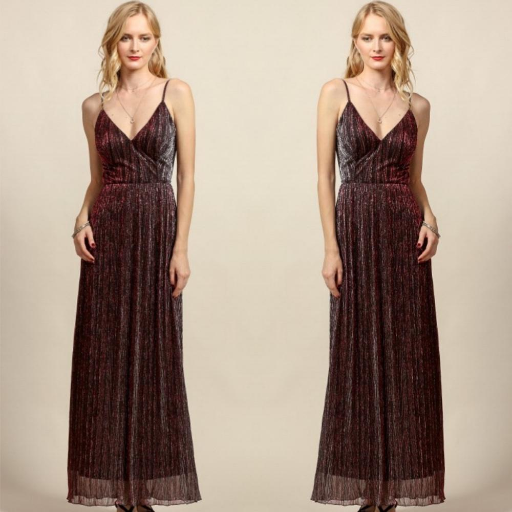 Shimmering backless aubergine maxi dress.