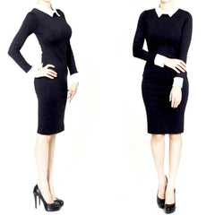 This little black hourglass dress will take you from day to evening in style. Featuring contrasting white cuffs and collar, demure knee-length and long sleeves.