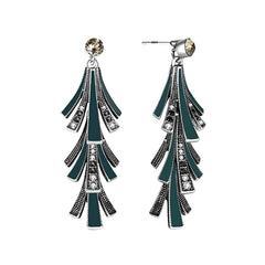 Art-deco style emerald and rhinestone chandelier earrings.
