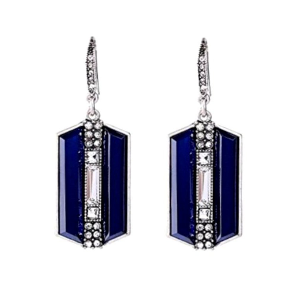 Lovely art deco-inspired sapphire blue and crystal rhinestone dangle earrings.