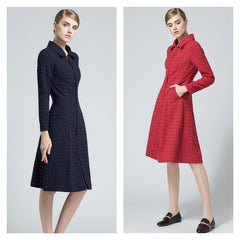 Sophisticated textured print a-line trench coat in red or navy.