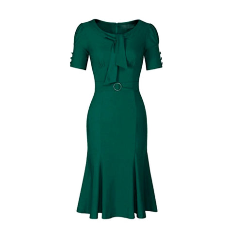 Lovely 1940s-style dark green pencil dress with a flared hem.