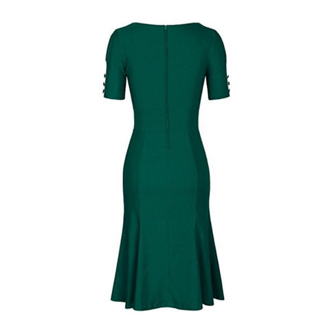 flared pencil dress in envy
