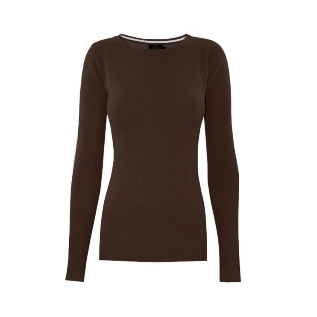 Classic brown crewneck sweater in a soft, medium-weight fabric with a pinch of stretch.