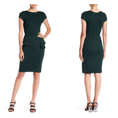 Hunter green cap-sleeve pencil dress with a 1940's-style hip swag.