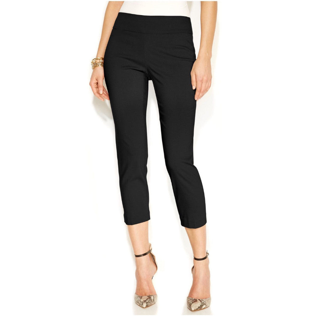 Mid-rise black capri pants.