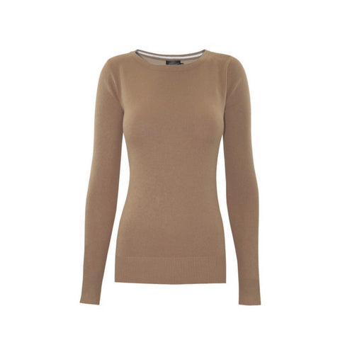 Classic fawn crewneck sweater in a soft, medium-weight fabric with a pinch of stretch.