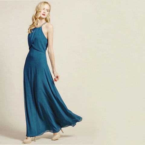 Classic teal full-length gown with embellished collar.