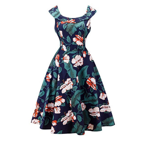 tropical fronds tea dress