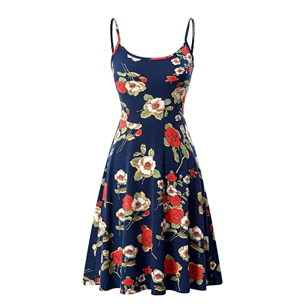 Summery little blue floral sleeveless a-line dress with adjustable straps.