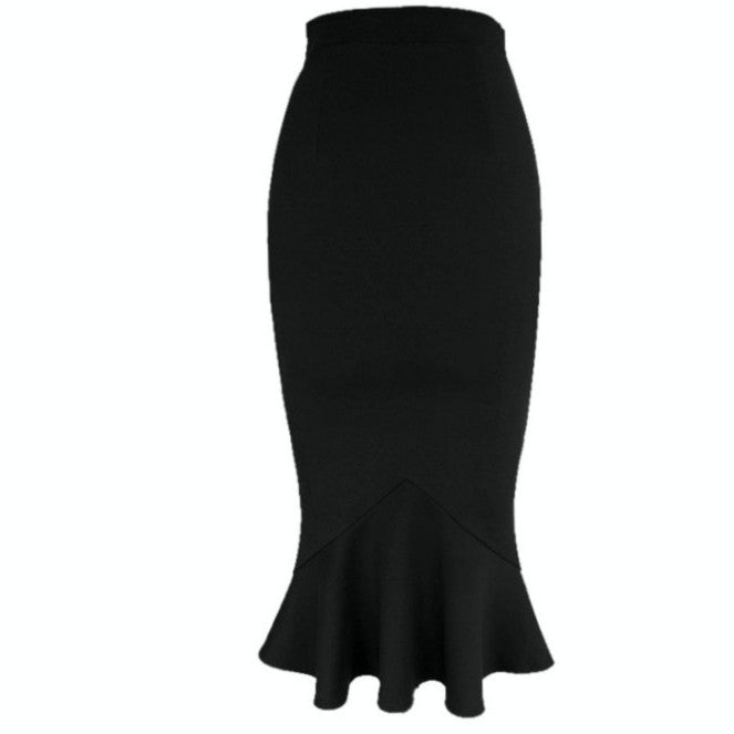With its classic silhouette and demure length, this fabulous black trumpet skirt is also exceptionally easy to wear.