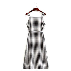 Charming black and white gingham check midi sundress.