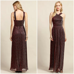 Chic halter-style metallic gown in burgundy.