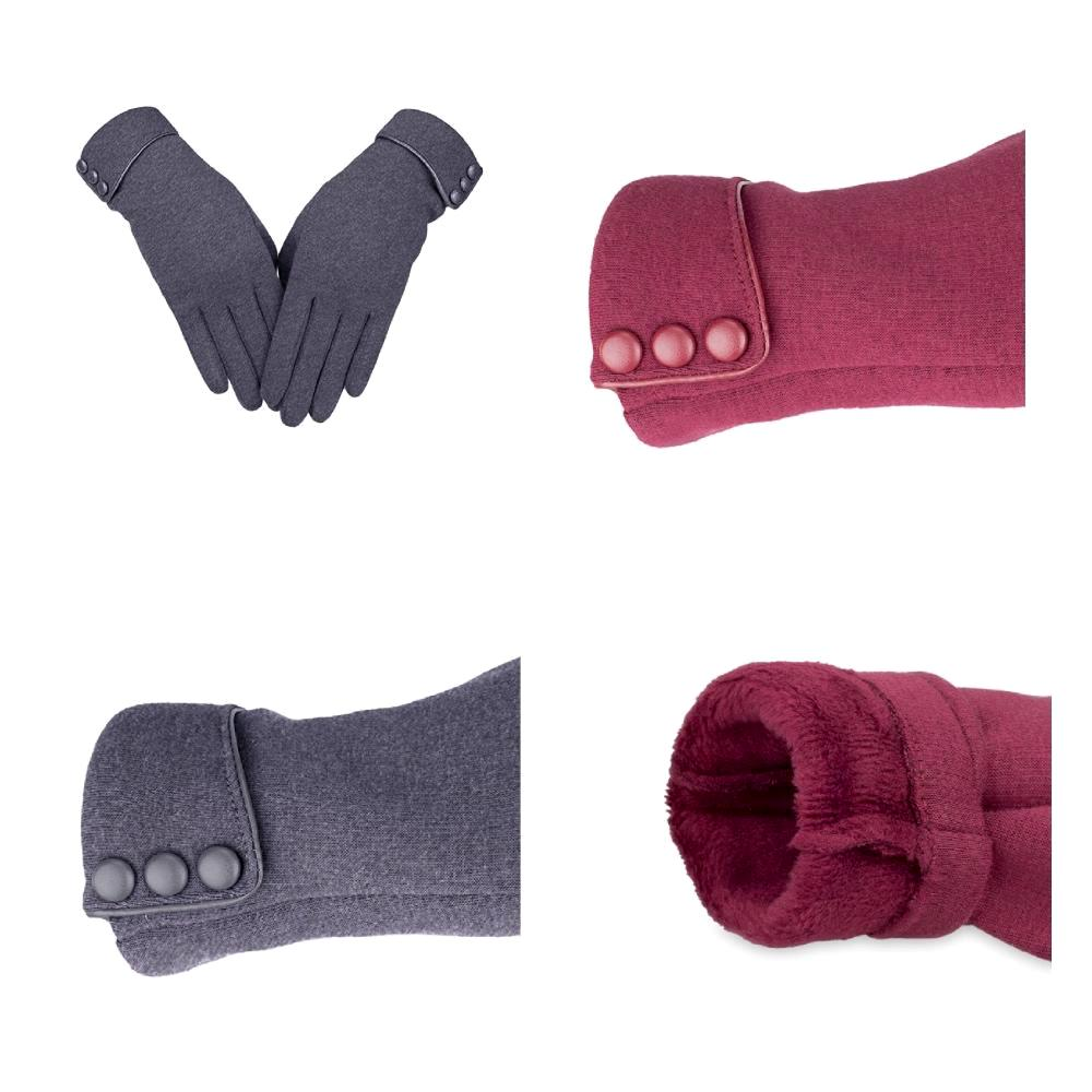 Charming, button-detail touchscreen gloves with warm, fleece lining.