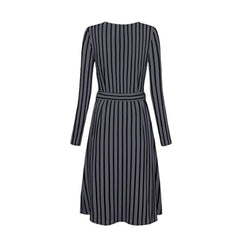 Classic faux wrap a-line dress in a flattering vertical stripe print.
