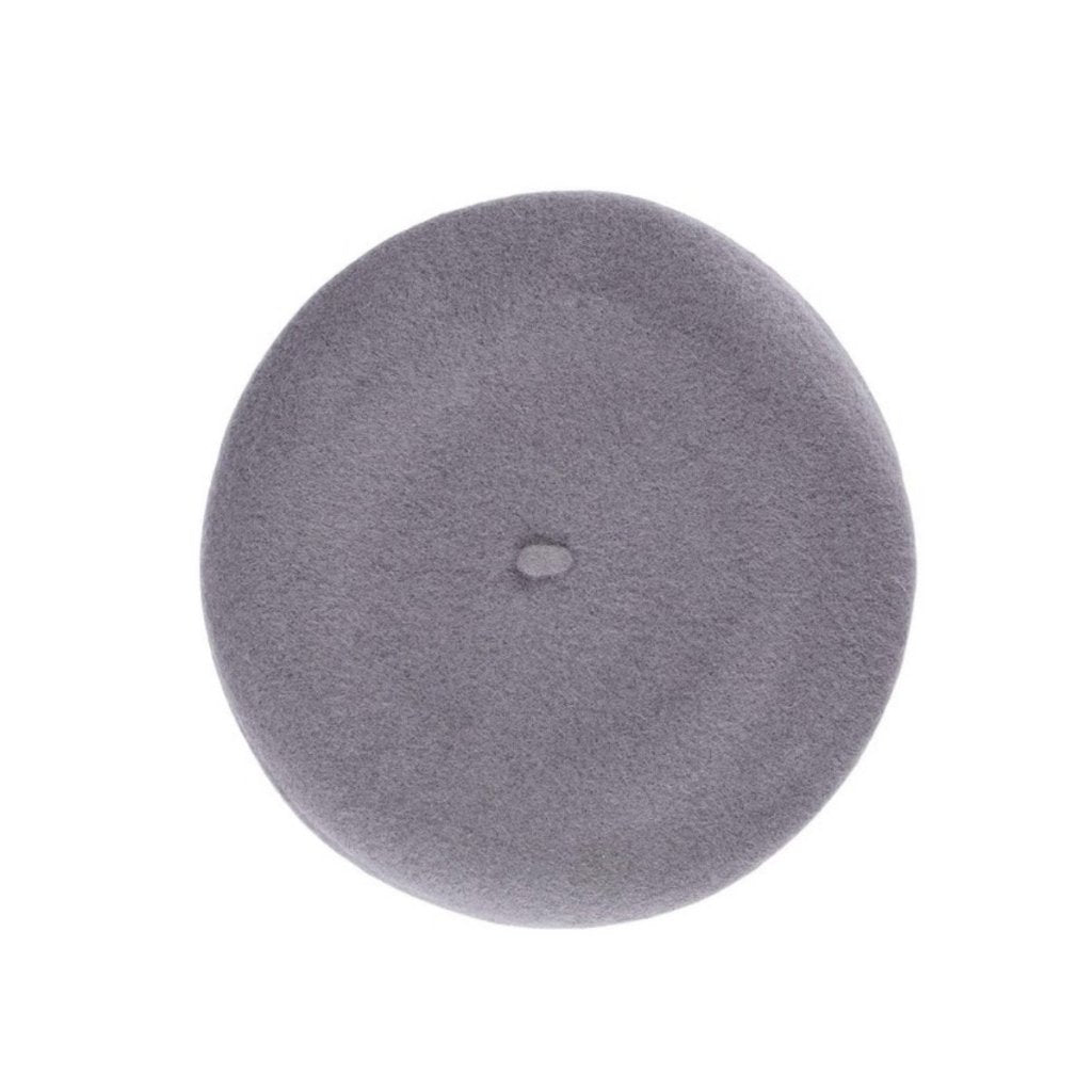 Classic felted wool beret cap in navy blue and gray.