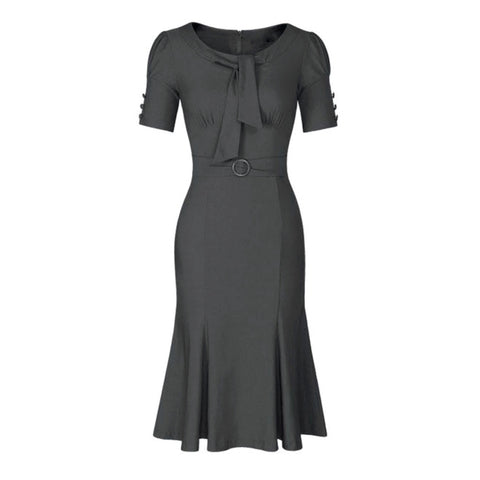 1940s-style gray pencil dress with a flared hem.
