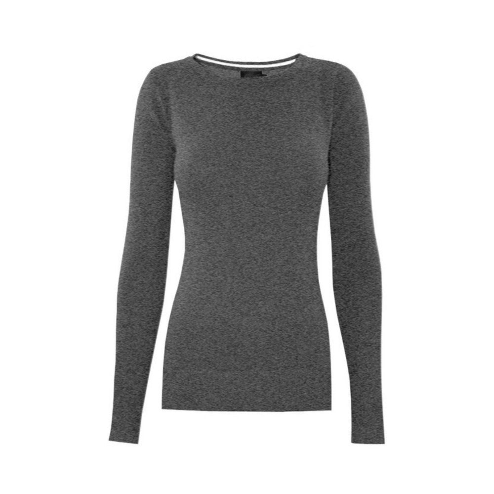 Classic charcoal gray crewneck sweater in a soft, medium-weight fabric with a pinch of stretch.