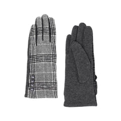 Charming, button-detail gray plaid texting gloves with warm, fleece lining.