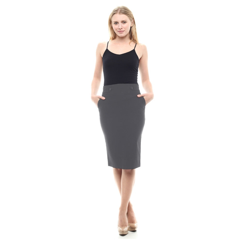 bi-stretch knee length gray pencil skirt