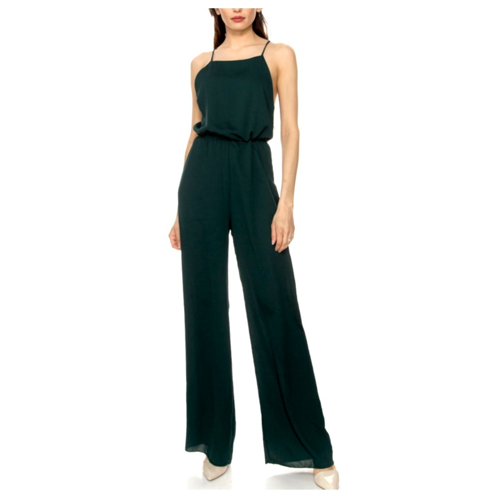 Elegant, flared leg jumpsuit in deep hunter green.