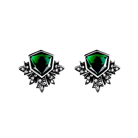 Lovely art deco-inspired emerald rhinestone pierced stud earrings.