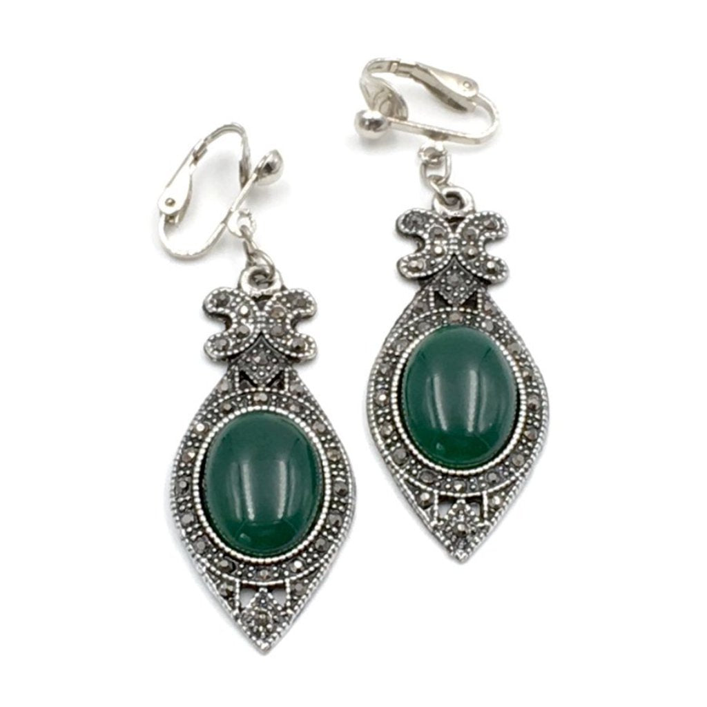 Lovely vintage 1960's art-deco style marcasite and green glass dangle earrings.