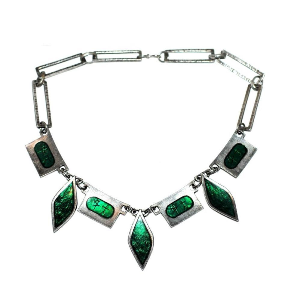 Striking true vintage 1960's mid-century-modern French emerald metal statement necklace.