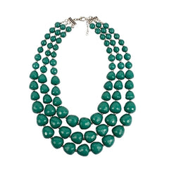Bold 1950's-style sea green multi-strand choker statement necklace.