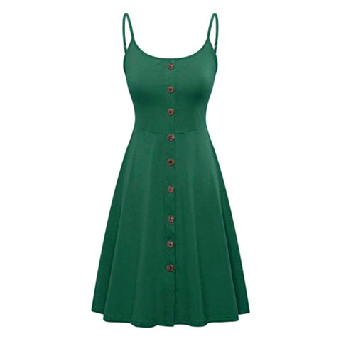 Summery dark green a-line dress with button front and adjustable straps.
