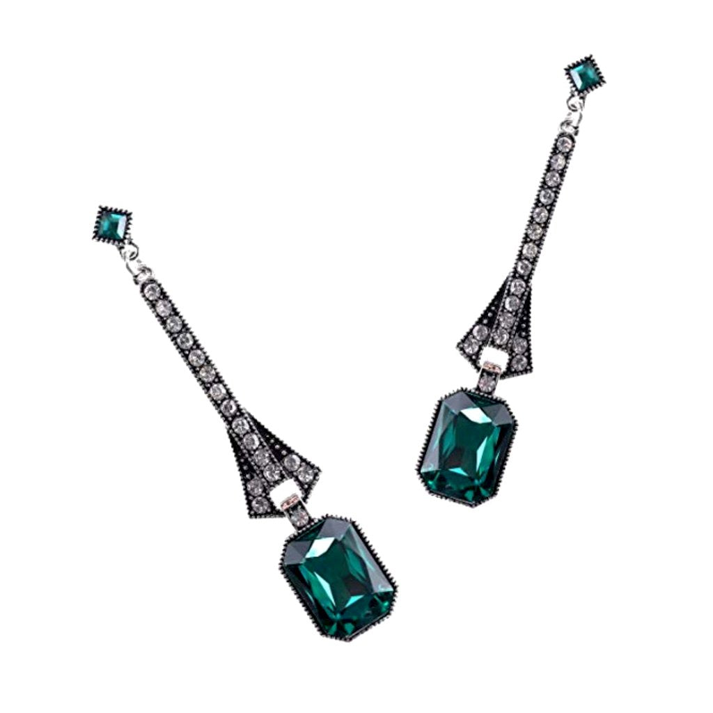 Lovely art deco-inspired emerald green and crystal rhinestone dangle earrings.
