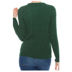 Crew-neck green cable knit sweater.