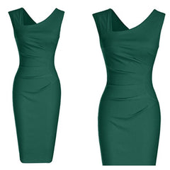 Sleeveless green sheath dress with asymmetric neckline and flattering ruching.