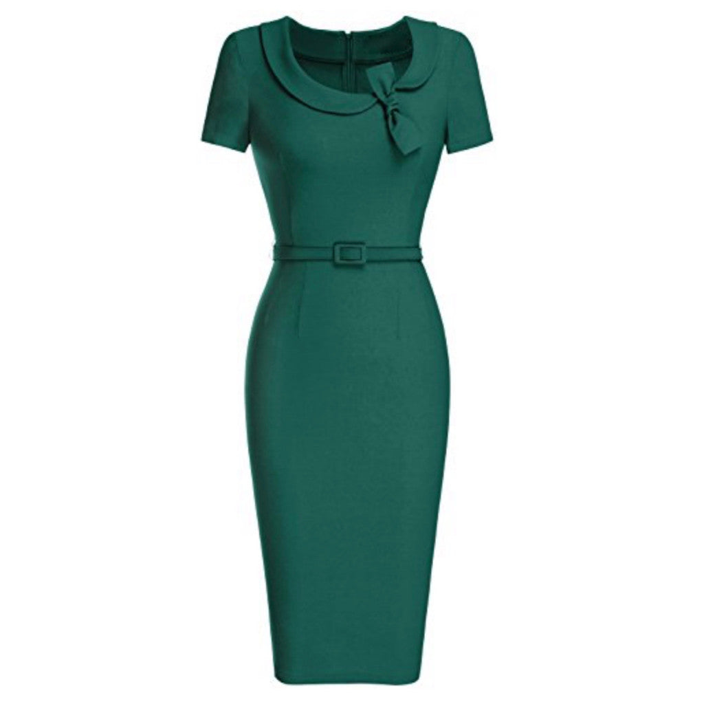 Classic green cap-sleeved pencil dress with peter pan collar and matching belt.