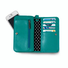 Chic green wristlet/wallet with polka dot interior and optional strap.