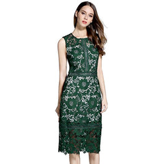 Elegant deep green sleeveless lace sheath dress.