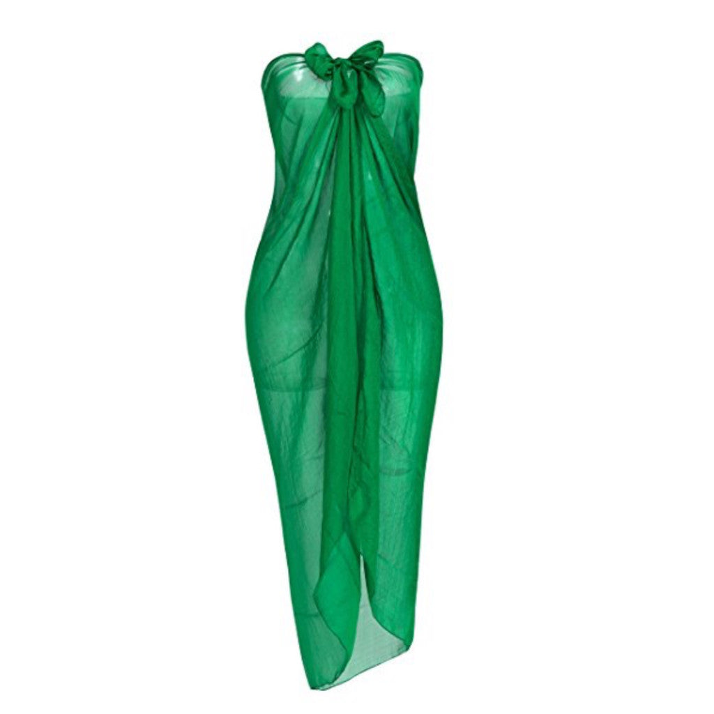 Classic green chiffon sarong/ beach cover up.