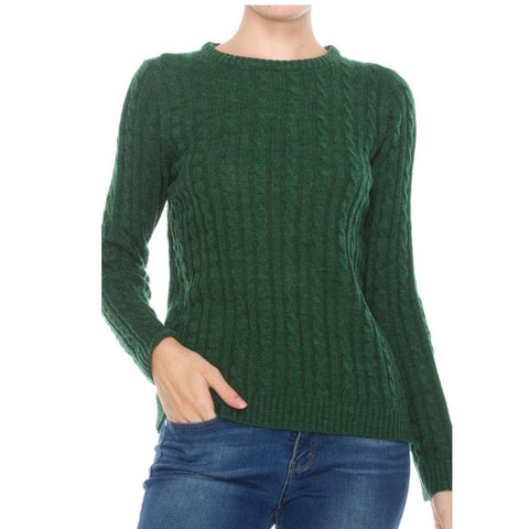 final sale | cable knit sweater in spruce