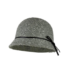 Sophisticated, 1920's-inspired gray tweed cloche and bucket hat with black trim.