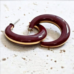 Lovely vintage petite burgundy hoop earrings.